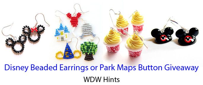 Disney Beaded Earrings or Park Maps Button Giveaway